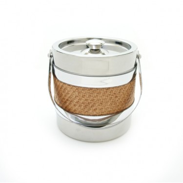 Stainless Steel and Wicker 3 Qt. Ice Bucket