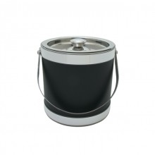 Black Stainless Steel 3 Quart Leatherette Ice Bucket