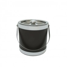 Brown Stainless Steel 3 Quart Leatherette Ice Bucket