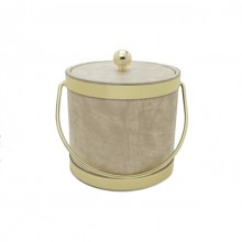 Faux Doe Skin with Gold Trim 3Qt. Ice Bucket