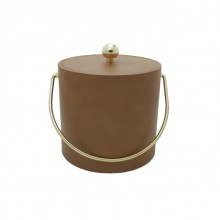 Saba Tan Leatherette 3 Qt. Ice Bucket